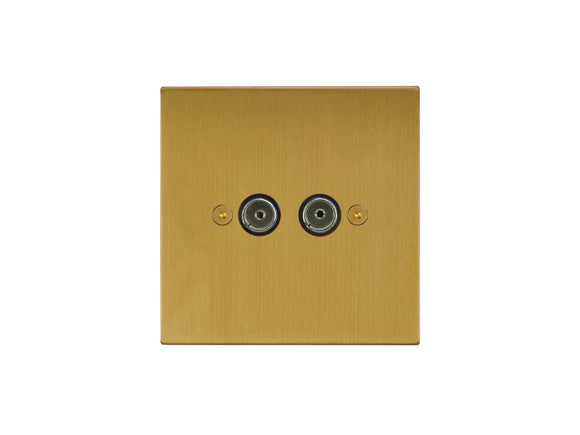 Focus SB Horizon TV Co-Axial 2 Gang Socket Satin Brass
