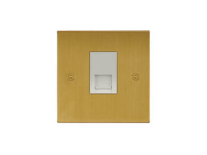 Focus SB Horizon Telephone Master 1 Gang Socket Satin Brass White Insert