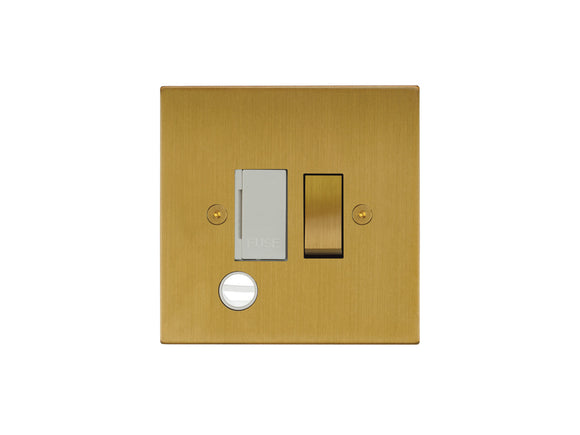 Focus SB Horizon Switched 1 Gang c/w Cord Connection Unit Satin Brass White Insert