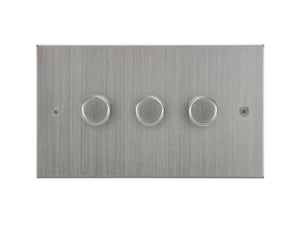 Focus SB Horizon 3 Gang 2 Way Push On/Off Dimmer Switch Satin Chrome