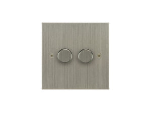 Focus SB Horizon 2 Gang 2 Way Push On/Off Dimmer Switch Satin Nickel