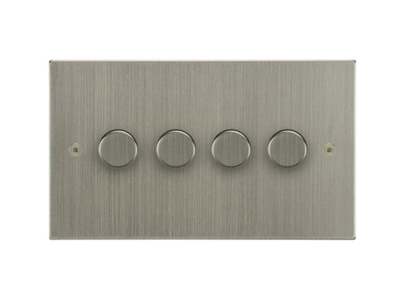 Focus SB Horizon 4 Gang 2 Way Push On/Off Dimmer Switch Satin Nickel
