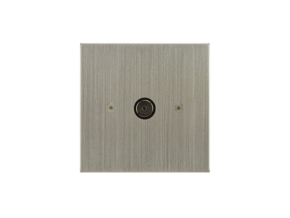 Focus SB Horizon TV Co-Axial 1 Gang Socket Satin Nickel