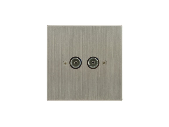 Focus SB Horizon TV Co-Axial 2 Gang Socket Satin Nickel