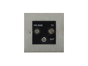 Focus SB Horizon TV/FM/Satellite Triplex Socket Satin Steel Black Insert