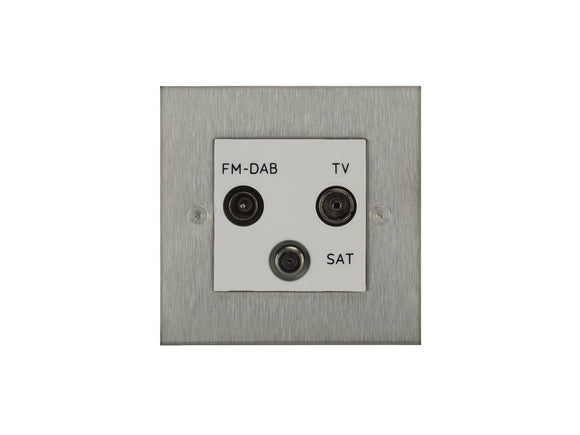 Focus SB Horizon TV/FM/Satellite Triplex Socket Satin Steel White Insert