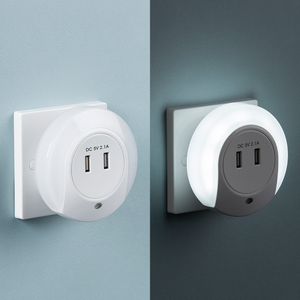 Knightsbridge Plug in LED Night Light with Dual USB Charger Ports 5V DC 2.1A (shared)