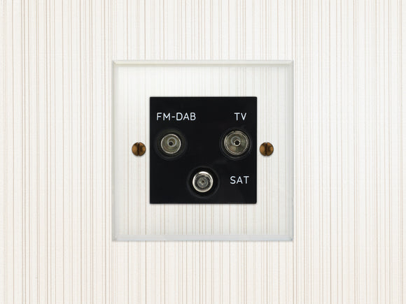 Focus SB Prism TV/FM/Satellite Triplex Socket Clear Acrylic Black Insert