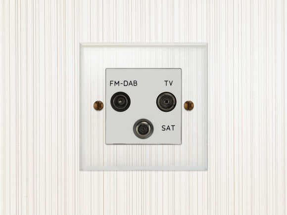 Focus SB Prism TV/FM/Satellite Triplex Socket Clear Acrylic White Insert