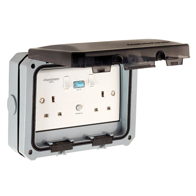 Greenbrook ProteKt Weatherproof Twin RCD Socket - Active