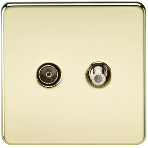 Knightsbridge Screwless TV & SAT TV Outlet (Isolated) - Polished Brass