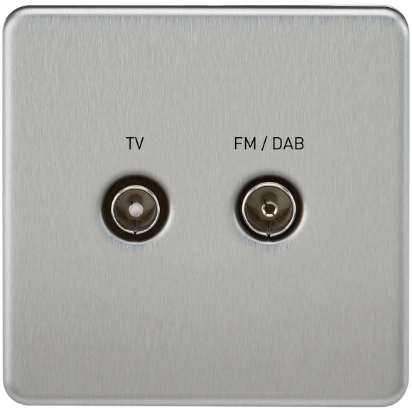 Knightsbridge Screwless Screened Diplex Outlet (TV & FM DAB) - Brushed Chrome