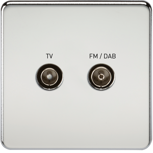Knightsbridge Screwless Screened Diplex Outlet (TV & FM DAB) - Polished Chrome