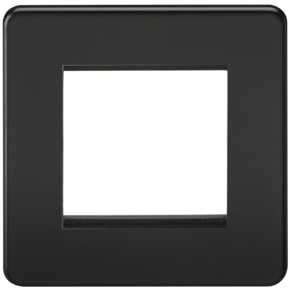Knightsbridge Screwless 2G Modular Faceplate - Matt Black