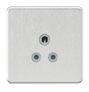 Knightsbridge Screwless 5A Unswitched Round Socket - Brushed Chrome with Grey Insert