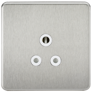Knightsbridge Screwless 5A Unswitched Socket - Brushed Chrome with White Insert