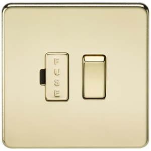 Knightsbridge Screwless 13A Switched Fused Spur Unit - Polished Brass