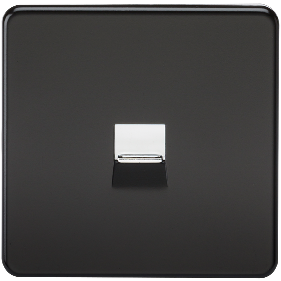 Knightsbridge Screwless Telephone Master Socket -Matt Black with Chrome Shutter
