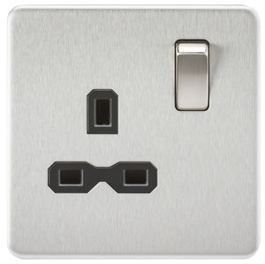 Knightsbridge Screwless 13A 1G DP switched Socket - Brushed Chrome with black insert