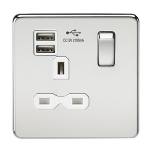 Knightsbridge Screwless 13A 1G switched socket with dual USB charger (2.1A) - polished chrome with white insert