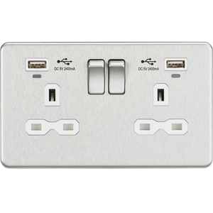 Knightsbridge 13A 2G Switched Socket, Dual USB (2.4A) with LED Charge Indicators - Brushed Chrome w/white insert