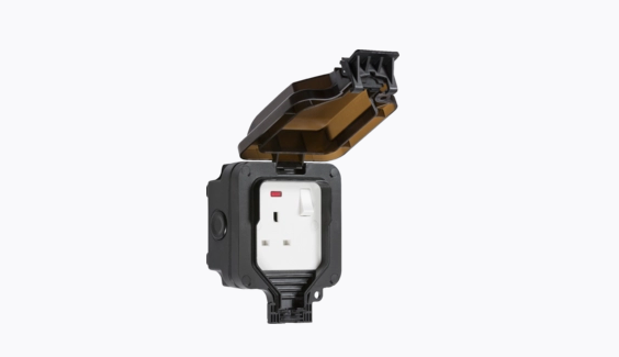 Knightsbridge IP66 13A 1G DP switched socket with neon - Black