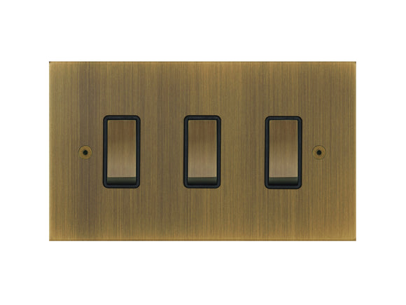 Focus SB True Edge Rocker 3 Gang 2 Way Switch Antique Brass Black Insert