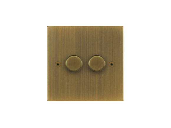 Focus SB True Edge 2 Gang 2 Way Push On/Off Dimmer Switch Antique Brass