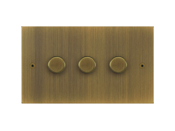 Focus SB True Edge 3 Gang 2 Way Push On/Off Dimmer Switch Antique Brass