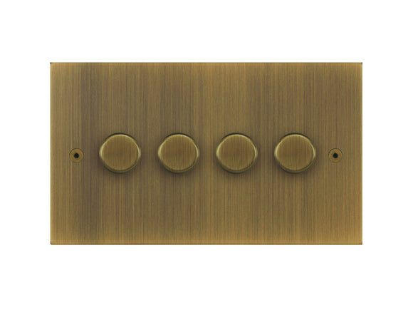 Focus SB True Edge 4 Gang 2 Way Push On/Off Dimmer Switch Antique Brass