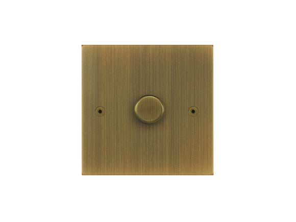 Focus SB True Edge 1 Gang 2 Way Push On/Off Dimmer Switch Antique Brass Single