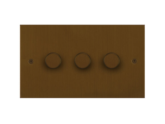 Focus SB True Edge 3 Gang 2 Way Push On/Off Dimmer Switch Bronze Antique