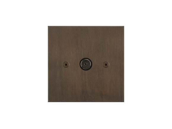 Focus SB True Edge TV Co-Axial 1 Gang Socket Chocolate Bronze