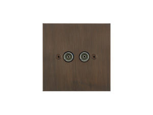 Focus SB True Edge TV Co-Axial 2 Gang Socket Chocolate Bronze