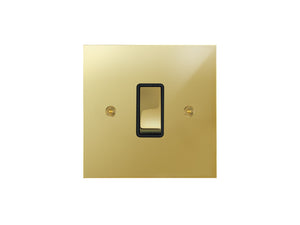 Focus SB True Edge Rocker 1 Gang 2 Way Switch Polished Brass Black Insert
