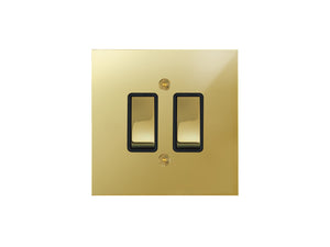 Focus SB True Edge Rocker 2 Gang 2 Way Switch Polished Brass Black Insert