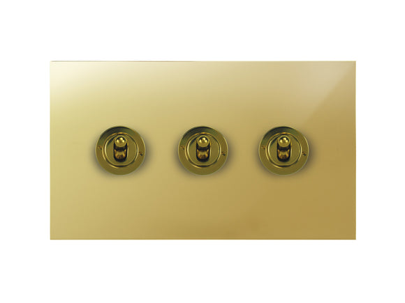 Focus SB True Edge Dolly Grid 3 Gang 2 Way Switch Polished Brass