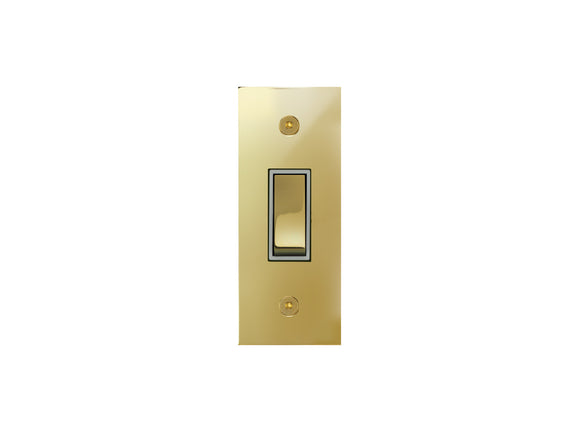 Focus SB True Edge Architrave Grid 1 Gang 2 Way Switch Polished Brass White Insert