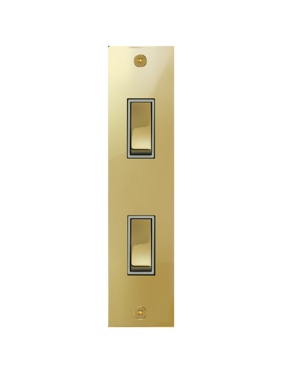 Focus SB True Edge Architrave Grid 2 Gang 2 Way Switch Polished Brass White Insert
