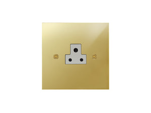 Focus SB True Edge Unswitched 1 Gang Socket Polished Brass White Insert