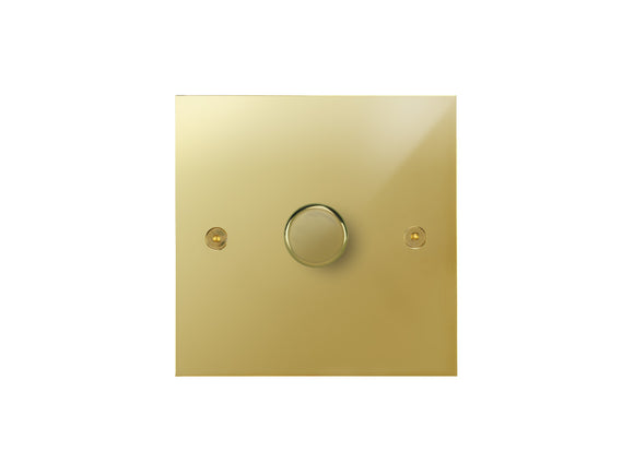Focus SB True Edge 1 Gang 2 Way Push On/Off Dimmer Switch Polished Brass
