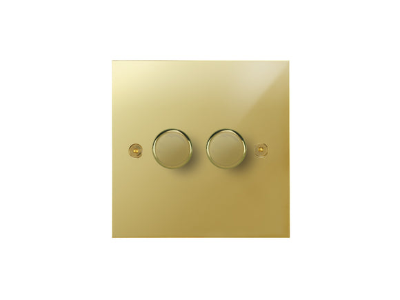 Focus SB True Edge 2 Gang 2 Way Push On/Off Dimmer Switch Polished Brass