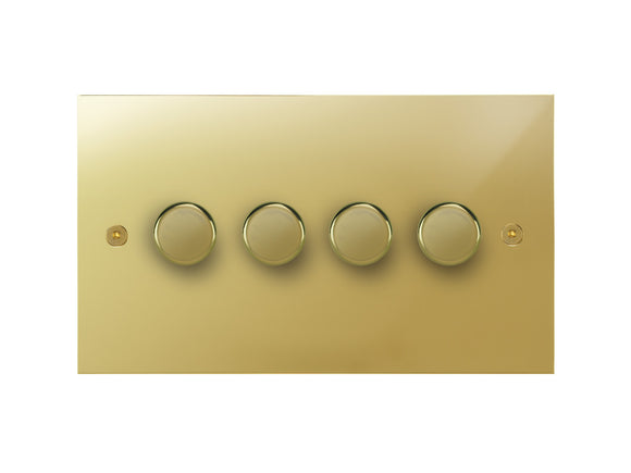 Focus SB True Edge 4 Gang 2 Way Push On/Off Dimmer Switch Polished Brass