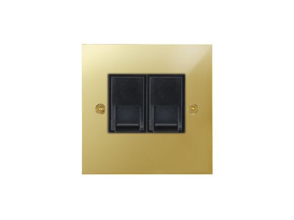 Focus SB True Edge Telephone Master 2 Gang Socket Polished Brass Black Insert