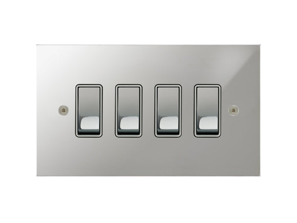 Focus SB True Edge Rocker 4 Gang 2 Way Switch Polished Chrome White Insert