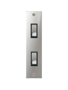 Focus SB True Edge Architrave Grid 2 Gang 2 Way Switch Polished Chrome Black Insert