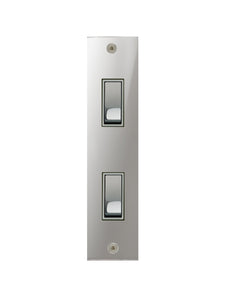 Focus SB True Edge Architrave Grid 2 Gang 2 Way Switch Polished Chrome White Insert