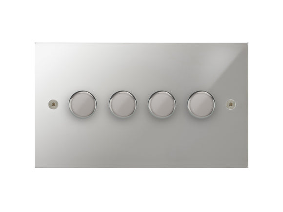 Focus SB True Edge 4 Gang 2 Way Push On/Off Dimmer Switch Polished Chrome