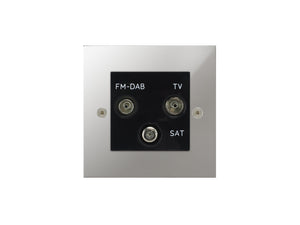 Focus SB True Edge TV/FM/Satellite Triplex Socket Polished Chrome Black Insert