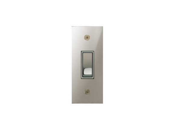Focus SB True Edge Architrave Grid 1 Gang 2 Way Switch Polished Nickel White Insert